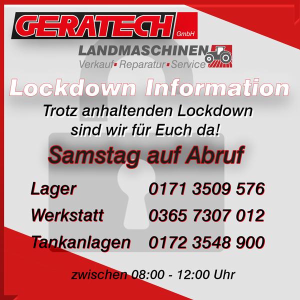 Lockdown Information Öffnungszeitenänderung Geratech Bereitschaft