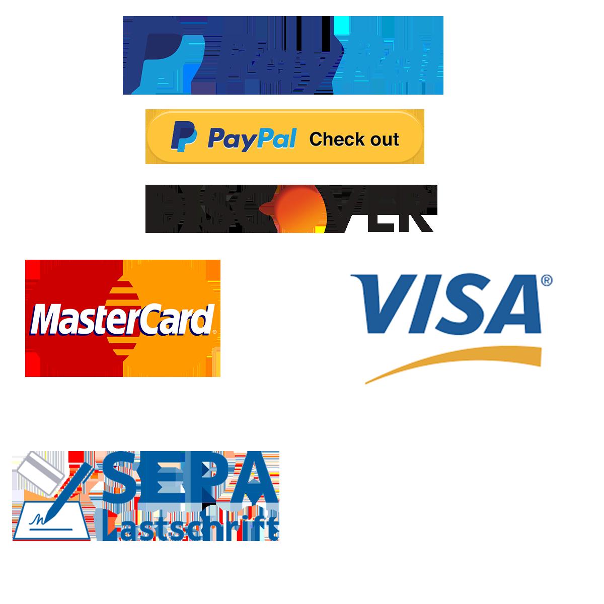 Zahlungsarten bei Geratech Landmaschinen, Bezahlung via PayPal, Checkout via Paypal, Mastercard, Visa, Discover, Sepa Lastschriftmandat oder Kauf auf Rechnung, alles möglich