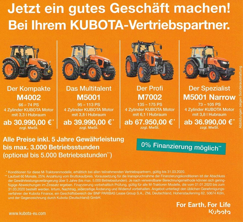 Angebot Kubota M4 ab 30.990 EUR