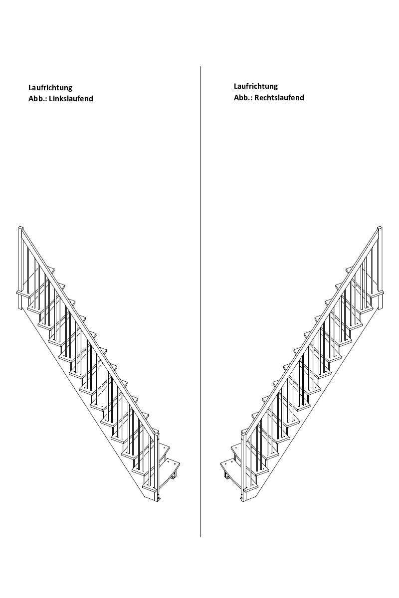 Raumspartreppe Lyon gerade in Kiefer mit Holzgeländerstäben – Bild 2