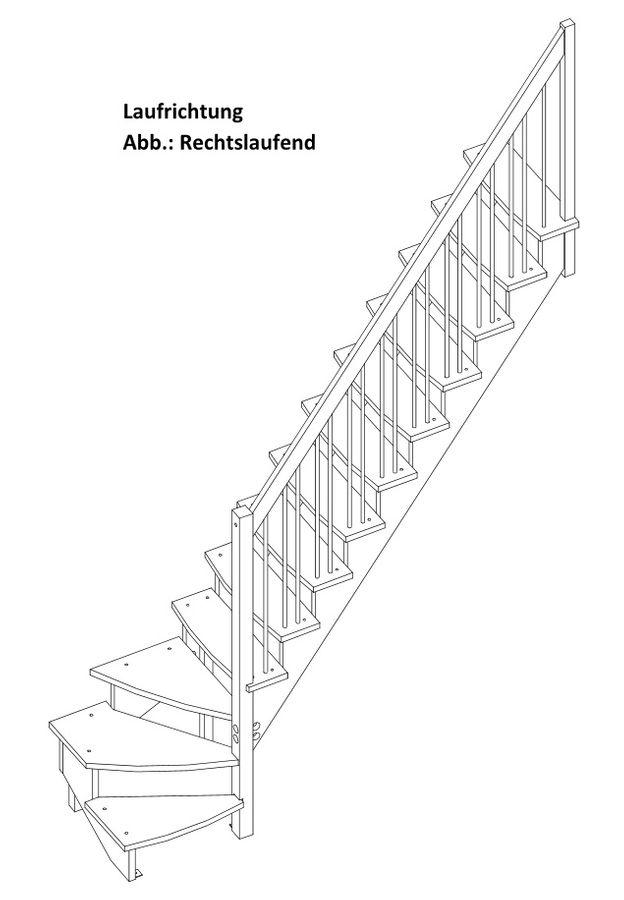 Raumspartreppe Lyon 1/4 unten rechts in Kiefer mit Holzgeländerstäben – Bild 2