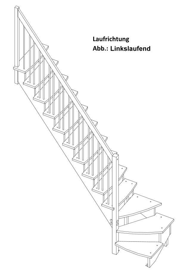 Raumspartreppe Lyon 1/4 unten links in Kiefer mit Geländerstäben aus Metall – Bild 2