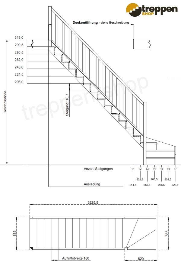 Raumspartreppe Paris 1/4 unten links in Fichte mit Rechteckstab – Bild 4