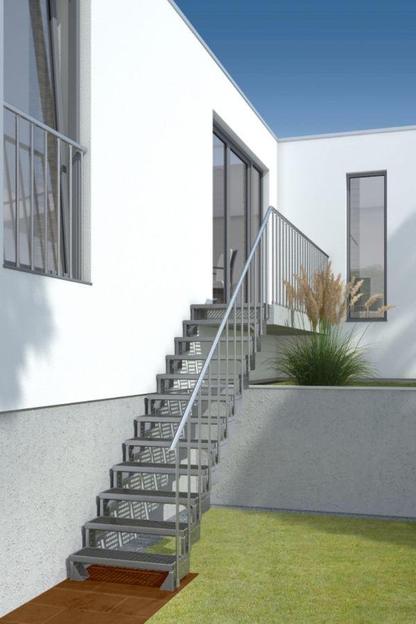 Außentreppe Gardentop mit normalem Steiggeländer und Gitterroststufen – Bild 3