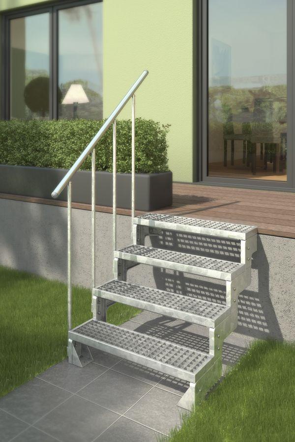 Außentreppe Gardentop mit normalem Steiggeländer und Gitterroststufen – Bild 1