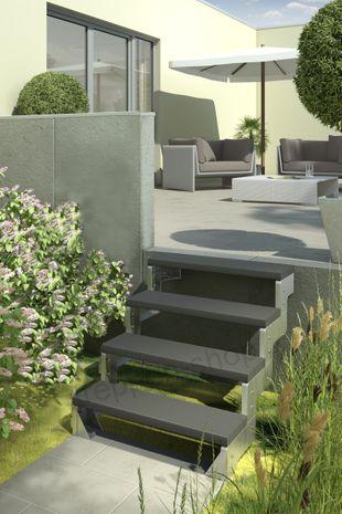 Außentreppe Gardentop ohne Geländer mit Trimaxstufen anthrazit 001