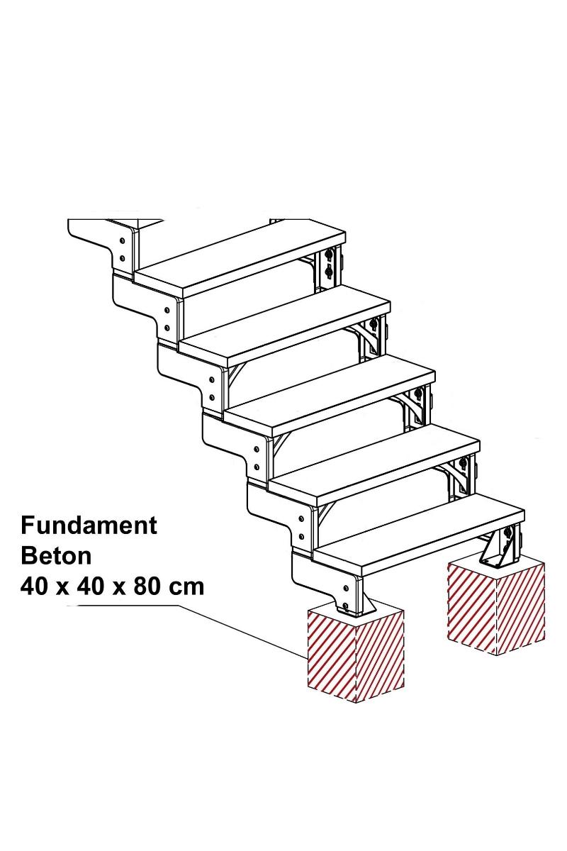 Außentreppe Gardentop mit Geländer und Trimaxstufen anthrazit – Bild 4
