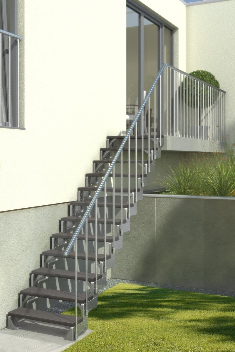 Außentreppe Gardentop mit Geländer und Trimaxstufen anthrazit – Bild 3