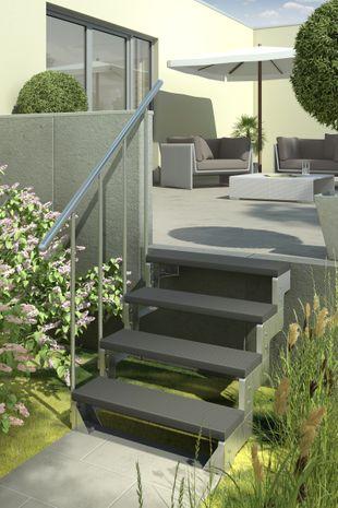 Außentreppe Gardentop mit Geländer und Trimaxstufen anthrazit 001