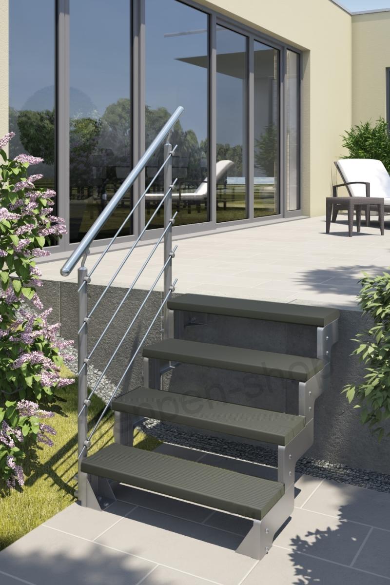 Außentreppe Gardentop mit Prova Geländer und Trimaxstufen anthrazit – Bild 1