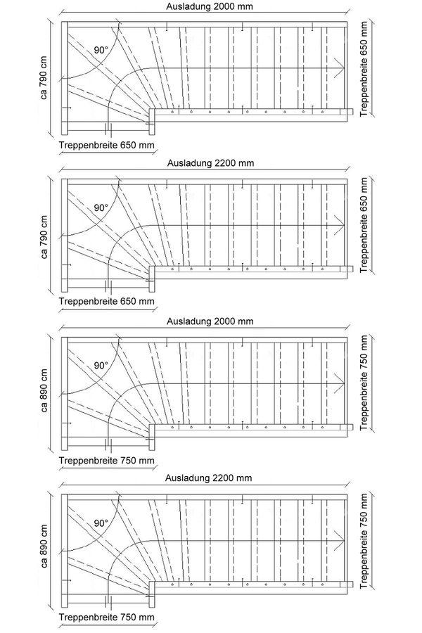 Treppe nach Maß 1/4 gewendelt rechts unten – Bild 6