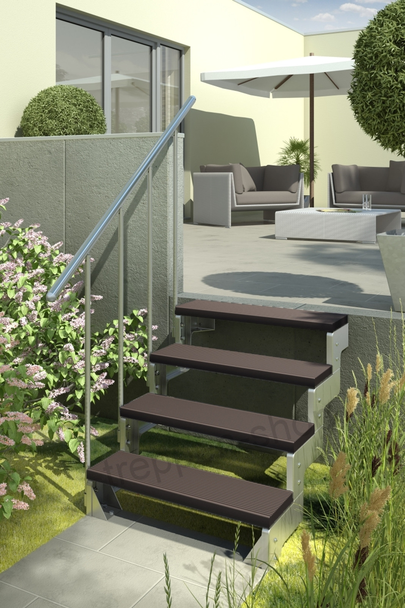 Außentreppe Gardentop mit Geländer und Trimaxstufen dunkelbraun – Bild 1