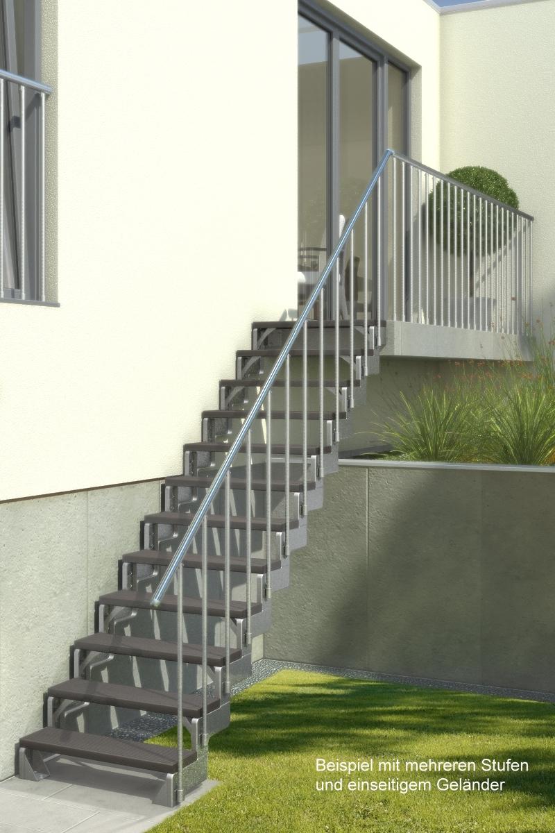 Außentreppe Gardentop mit Geländer und Trimaxstufen dunkelbraun – Bild 3