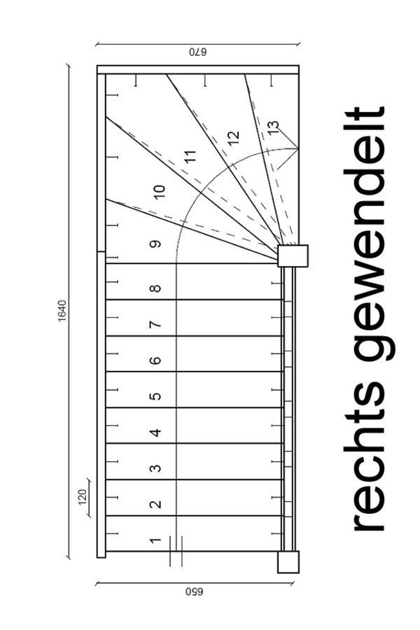 Raumspartreppe Paderborn Buche - 1/4 oben rechts gewendelt – Bild 2
