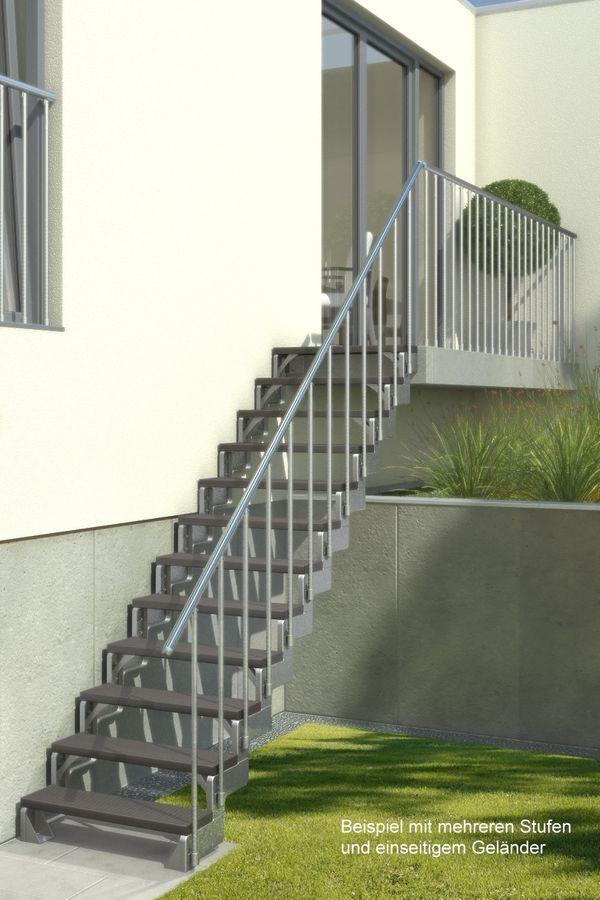 Außentreppe Gardentop mit zwei Geländern und Trimaxstufen anthrazit – Bild 2