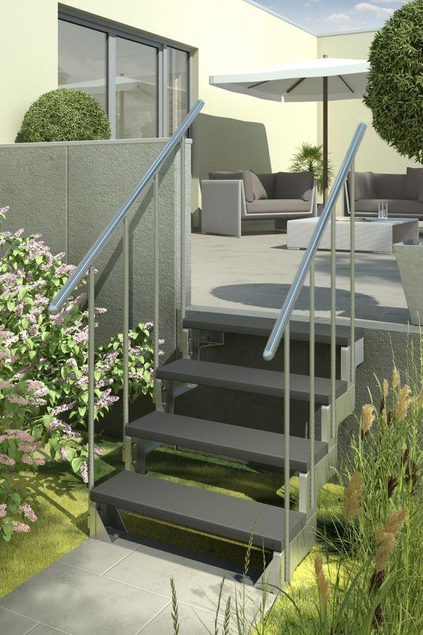Außentreppe Gardentop mit zwei Geländern und Trimaxstufen anthrazit – Bild 1