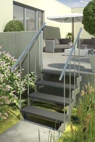 Außentreppe Gardentop mit zwei Geländern und Trimaxstufen anthrazit 001