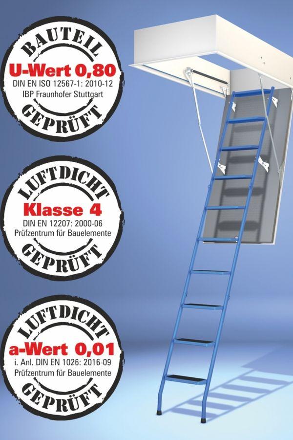 Bodentreppe Wellhöfer StahlBlau WärmeSchutz 3D