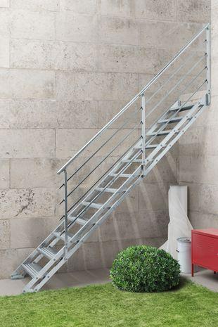 Außentreppe Stahlwangentreppe POP verzinkt 001