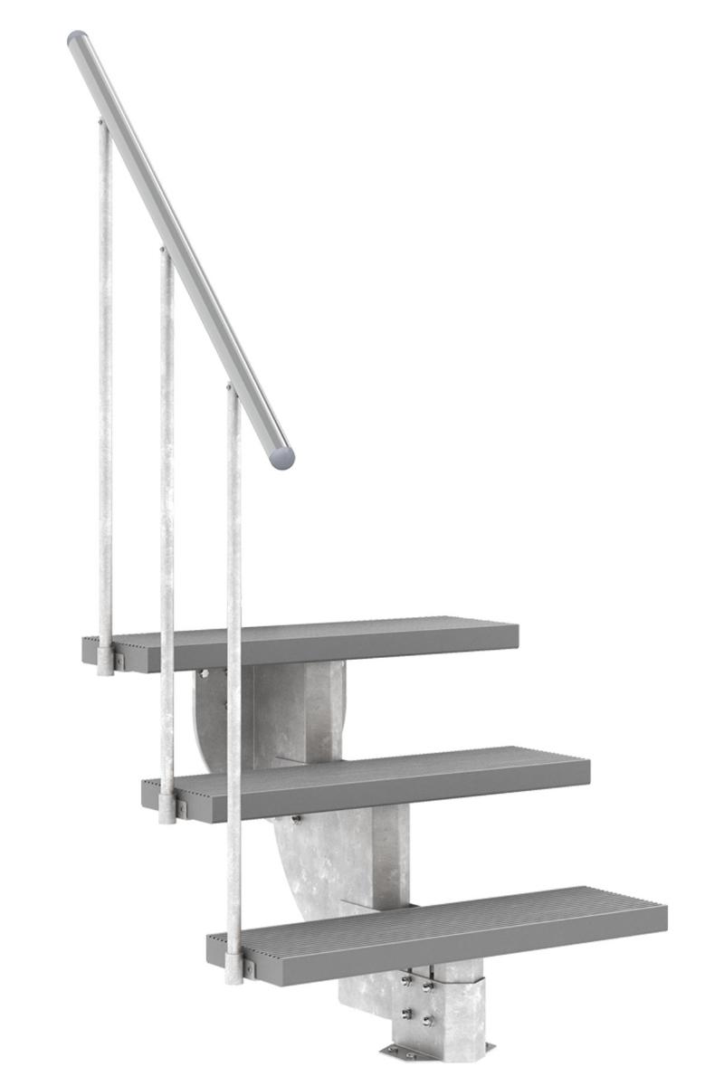 Außentreppe Gardenstep mit Geländer und Trimaxstufen grau, 80 cm breit – Bild 2