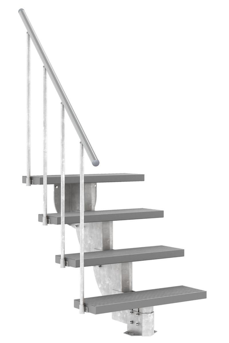 Außentreppe Gardenstep mit Geländer und Trimaxstufen grau, 80 cm breit – Bild 3