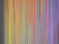 Fadenvorhang bedruckt mit buntem Farbverlauf