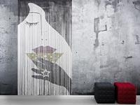 Fadenvorhang bedruckt mit abstrahierter Frau