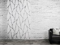 Fadenvorhang bedruckt mit grauen Linien