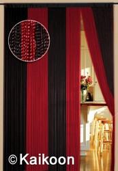 Fadenvorhang 200cm x 400cm (BxH) 2 farbig gestreift rot - schwarz