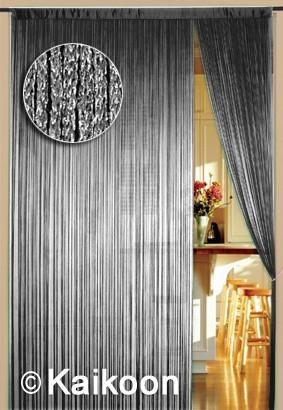 Fadenvorhang 090 cm x 240 cm silber glänzend (BxH)