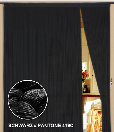 Fadenvorhang 150 cm x 500 cm (BxH) schwarz