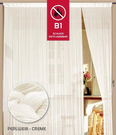 Fadenvorhang 150 cm x 300 cm (BxH) perlweiß creme in B1 schwer entflammbar