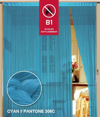 Fadenvorhang 150 cm x 300 cm hellblau in B1 schwer entflammbar