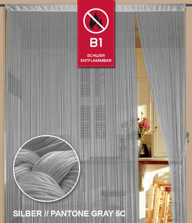 Fadenvorhang 150 cm x 300 cm (BxH) silber in B1 schwer entflammbar