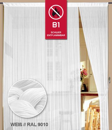 Fadenvorhang 100 cm x 250 cm (BxH) weiß in B1 schwer entflammbar