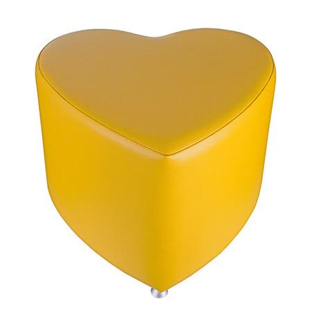 Sitzhocker - Sitzwürfel Herzform Gelb mit Aluminium Gleiter