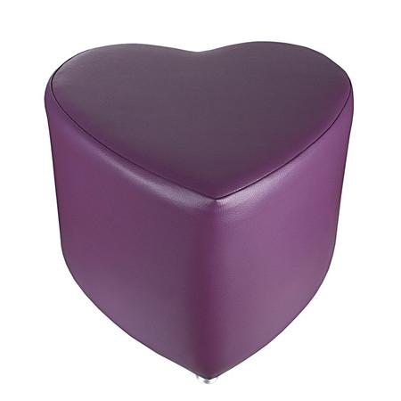 Sitzhocker - Sitzwürfel Herzform Lila mit Aluminium Gleiter