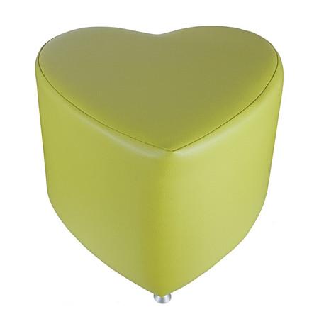 Sitzhocker - Sitzwürfel Herzform Hellgrün mit Aluminium Gleiter