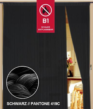 Fadenvorhang 150 cm x 800 cm (BxH) schwarz in B1 schwer entflammbar