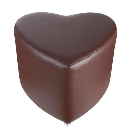 Sitzhocker - Sitzwürfel Herzform Braun mit Aluminium Gleiter