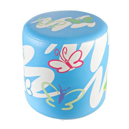 Sitzhocker Schmetterling Kinderzimmer hellblau Ø34x34cm