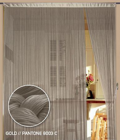 Fadenvorhang 150 cm x 500 cm (BxH) gold