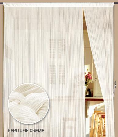 Fadenvorhang 150 cm x 500 cm (BxH) perlweiß creme