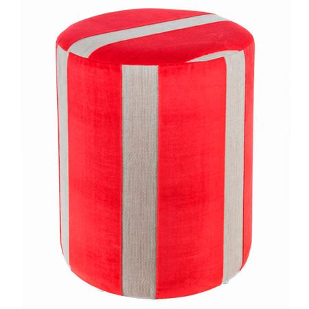 Sitzhocker Möbelstoff rot creme Ø 34 x 44cm