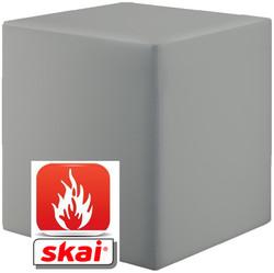 Sitzwürfel platin grau B1 schwer entflammbar 43 cm x 43 cm x 51 cm