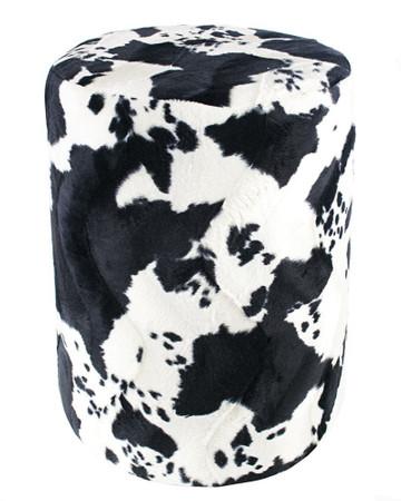 Sitzhocker Fell-Imitat Kuhfell schwarz-weiß Maße Ø 34 x 60 cm