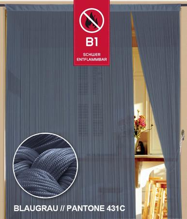 Fadenvorhang 150 cm x 500 cm (BxH) blaugrau in B1 schwer entflammbar