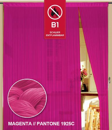 Fadenvorhang 150 cm x 300 cm (BxH) magenta in B1 schwer entflammbar