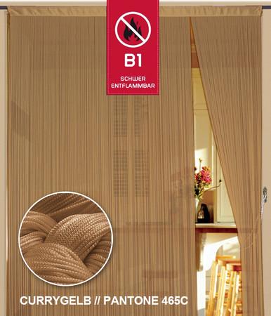 Fadenvorhang 150 cm x 500 cm (BxH) currygelb gold in B1 schwer entflammbar