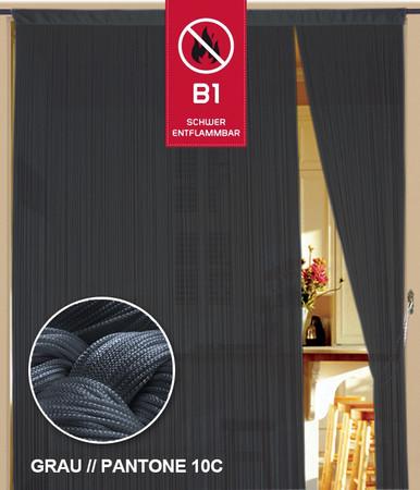 Fadenvorhang 150 cm x 300 cm (BxH) grau in B1 schwer entflammbar